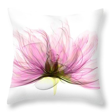X-ray Of Peony Flower Throw Pillow by Ted Kinsman