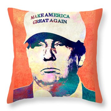 Donald Trump 2016 Presidential Candidate Throw Pillow by Elena Kosvincheva