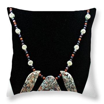 3521 Crinoid Fossil Jasper Necklace Throw Pillow by Teresa Mucha