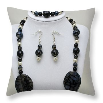 3548 Cracked Agate Necklace Bracelet And Earrings Set Throw Pillow by Teresa Mucha