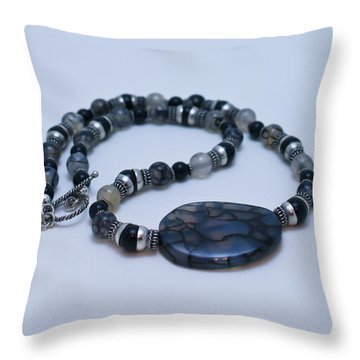 3552 Cracked Agate Necklace Throw Pillow by Teresa Mucha