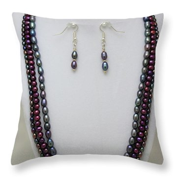 3562 Triple Strand Freshwater Pearl Necklace Set Throw Pillow by Teresa Mucha