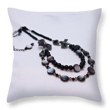 3587 Fun Gunmetal Necklace  Throw Pillow by Teresa Mucha