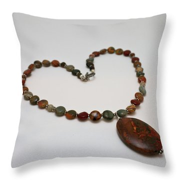 3600 Picasso Jasper Necklace Throw Pillow by Teresa Mucha