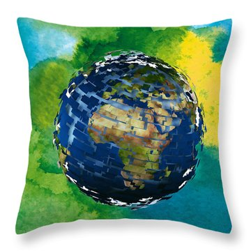 3d Render Of Planet Earth 14 Throw Pillow by Lanjee Chee