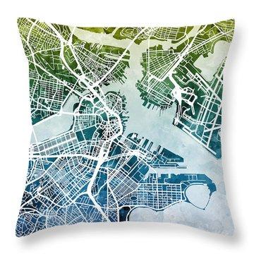 Boston Massachusetts Street Map Throw Pillow by Michael Tompsett
