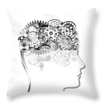 Brain Design By Cogs And Gears Throw Pillow by Setsiri Silapasuwanchai