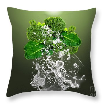 Broccoli Splash Throw Pillow by Marvin Blaine