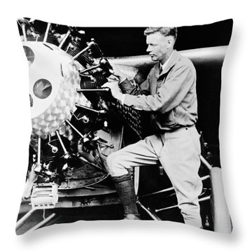 Charles Lindbergh Throw Pillow by American School