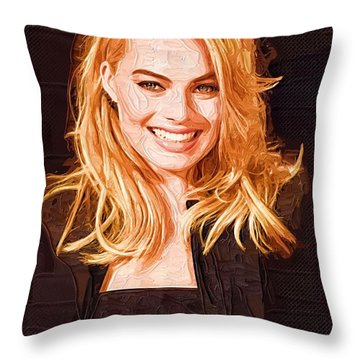 Margot Robbie Painting Throw Pillow by Best Actors