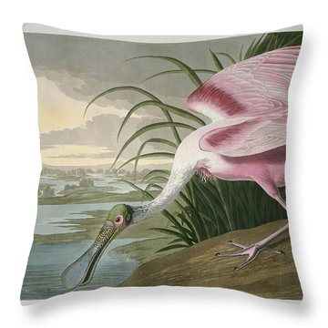 Roseate Spoonbill Throw Pillow by John James Audubon
