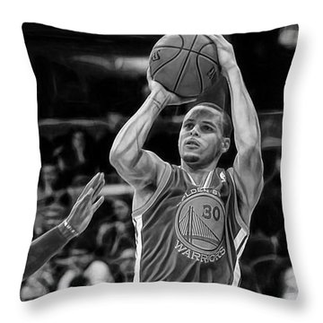 Steph Curry Collection Throw Pillow by Marvin Blaine