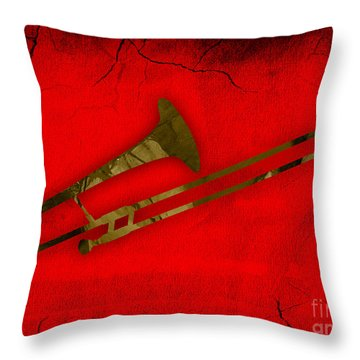 Trombone Collection Throw Pillow by Marvin Blaine