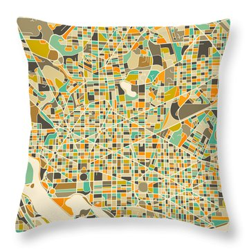 Washington Dc Map Throw Pillow by Jazzberry Blue