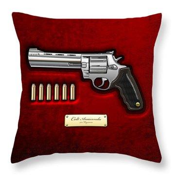 .44 Magnum Colt Anaconda On Red Velvet  Throw Pillow by Serge Averbukh