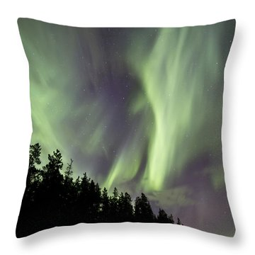 Aurora Borealis Over Trees, Yukon Throw Pillow by Jonathan Tucker