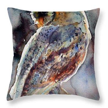 Barn Owl Throw Pillow by Kovacs Anna Brigitta