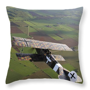 Fokker D.vii World War I Replica Throw Pillow by Daniel Karlsson