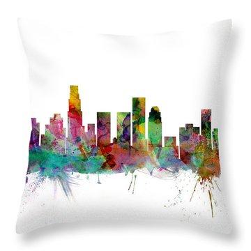 Los Angeles California Skyline Throw Pillow by Michael Tompsett