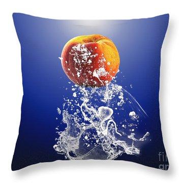 Peach Splash Throw Pillow by Marvin Blaine