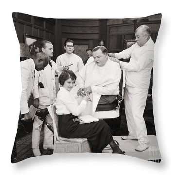 Silent Still: Barber Shop Throw Pillow by Granger