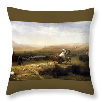 The Last Of The Buffalo  Throw Pillow by MotionAge Designs