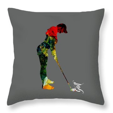 Womens Golf Collection Throw Pillow by Marvin Blaine