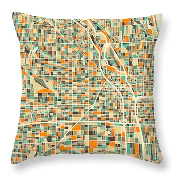 Chicago Map Throw Pillow by Jazzberry Blue