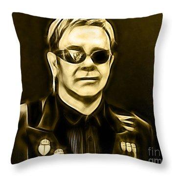 Elton John Collection Throw Pillow by Marvin Blaine