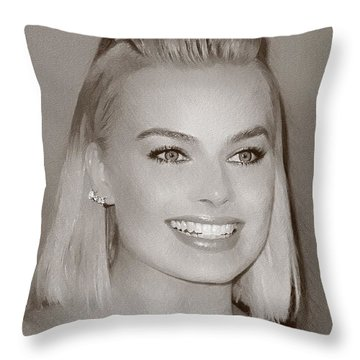 Hollywood Star Margot Robbie Throw Pillow by Best Actors