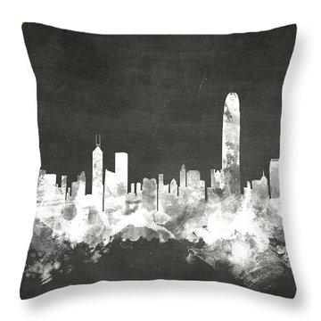 Hong Kong Skyline Throw Pillow by Michael Tompsett