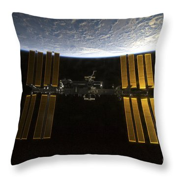 International Space Station Throw Pillow by Stocktrek Images