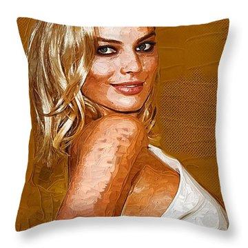 Margot Robbie Art Throw Pillow by Best Actors