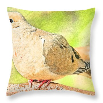 Throw Pillow featuring the digital art Mourning Dove Animal Portrait by A Gurmankin