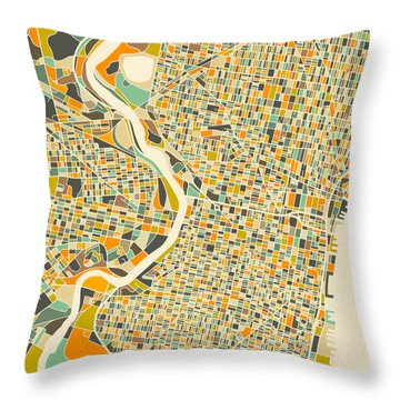 Philadelphia Map Throw Pillow by Jazzberry Blue