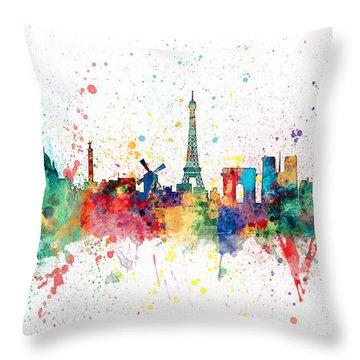 Paris France Skyline Throw Pillow by Michael Tompsett