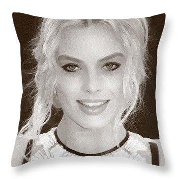 Actress Margot Robbie Throw Pillow by Best Actors