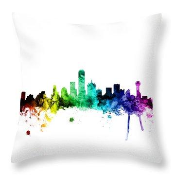 Dallas Texas Skyline Throw Pillow by Michael Tompsett