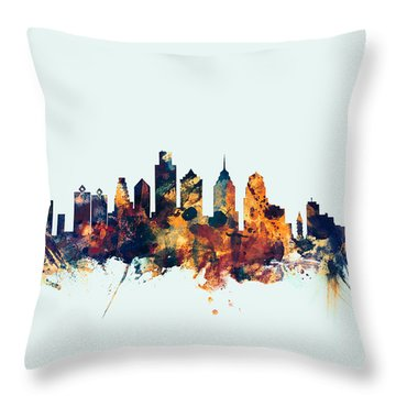 Philadelphia Pennsylvania Skyline Throw Pillow by Michael Tompsett