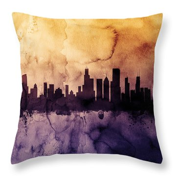 Chicago Illinois Skyline Throw Pillow by Michael Tompsett