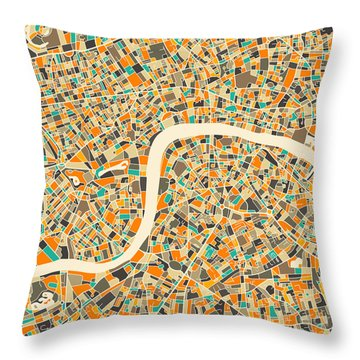 London Map Throw Pillow by Jazzberry Blue