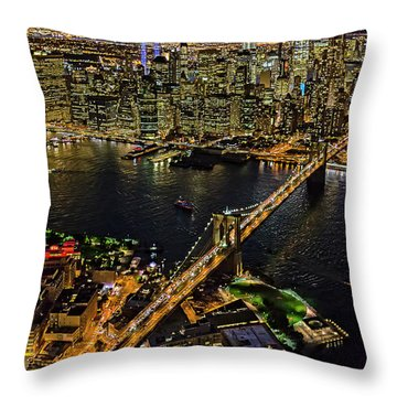 911 Tribute In Lights At Nyc Throw Pillow by Susan Candelario