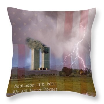 911 We Will Never Forget Throw Pillow by James BO  Insogna