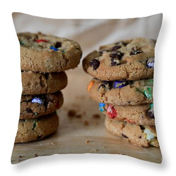 A Balanced Diet Is A Cookie In Each Hand Throw Pillow by Tracy Hall