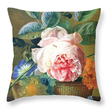 A Basket With Flowers Throw Pillow by Jan van Huysum