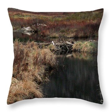 A Beaver's Work Throw Pillow by Skip Willits