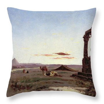 A Bedouin Encampment By A Ruined Temple  Throw Pillow by Alexandre Gabriel Decamps