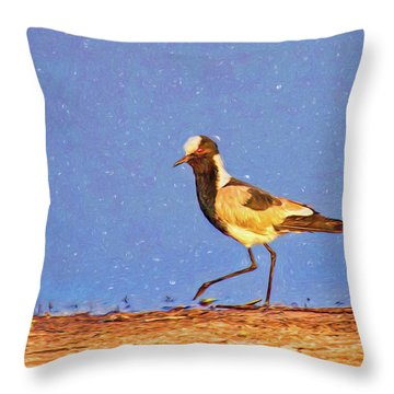 A Black-wing Lapwing With Art Throw Pillow by Kay Brewer