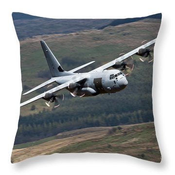 A C-130 Hercules Of The Royal Air Force Throw Pillow by Andrew Chittock
