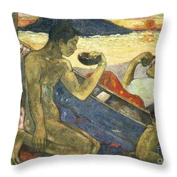 A Canoe Throw Pillow by Paul Gauguin
